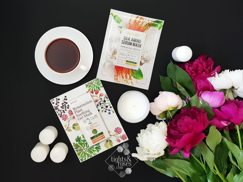 Тканевые маски от Petitfee&Koelf: Silk Amino Serum Mask и Resurrection Plant Soothing Gel Mask